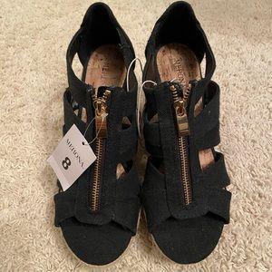 Merona Size 8 Black Wedge Sandals